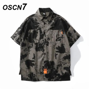 OSCN7 Casual Printed Short Sleeve Shirt Men Street 2020 Cargo Beach Oversize Women Fashion Harujuku Shirts for Men 3221