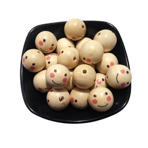 18mm Round Natural Wood Beads Teether Loose Printing Smile face Wooden Beads Necklaces for Jewelry Making products