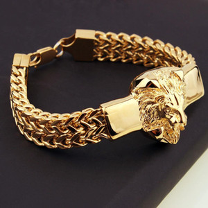 فاسق مجوهرات فيجارو سلسلة رجال سوار الفولاذ المقاوم للصدأ لون الفضة / لون الذهب رئيس الأسد سوار رجل سوار الكفة 8.66 بوصة CX200724