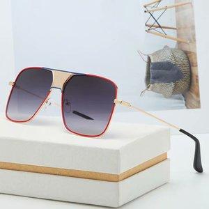 European and American fashion classic men's sunglasses designer metal square frame gradient anti-reflection lens sports fashion sunglasses