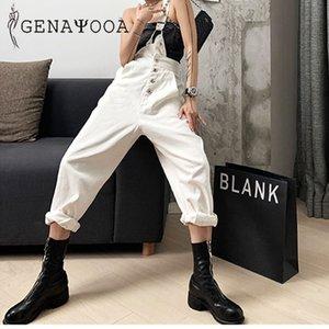 Genayooa Широких ног брюки Streetwear мамы джинсы белый Boyfriend джинсы для женщин Корейского Прохладная Сыпучая высокая талия 2020 Моды