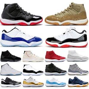 Sconto New Low Bianco Bred 11 11s Concord Blu 45 uomini donne scarpe da basket, argento metallizzato cappello e abito Gamma Mens Sneaker Sneakers