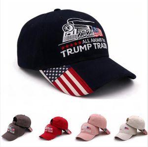 Donald Trump Train Baseball Cap Outdoor Embroidery Trump Train Hat Sports Cap Sars Striped USA Flag Cap Adjustable LJJP193