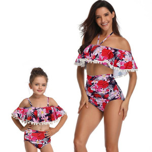 Mommy and Me Family Matching Outfits Cute Dot Swimsuit Bikini for Mother Daughter Summer Clothes Outfit mae e filha Placa
