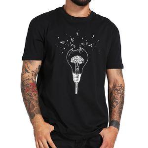 Cervello maglietta libera la vostra mente creativa di alta qualità respirabile morbido design nero rotto lampadina T-shirt in cotone 100%