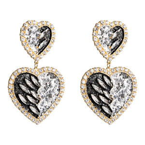 earrings multi-layer love sequins Diamond acrylic earrings women's high-end fashion temperament ear accessories