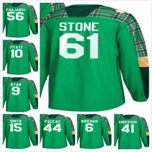 Ottawa Senators em branco Jean-Gabriel Pageau 15 Zack Smith 9 Bobby Ryan 56 Magnus Paajarvi 10 Tom Pyatt Green St. Patricks Day Hockey Jersey