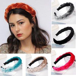 2020 Градиент Женщины Аксессуары для волос New Velvet Hairband для женщин Ladies оголовье Сплошной цвет оплетки волос петли Ретро головной убор