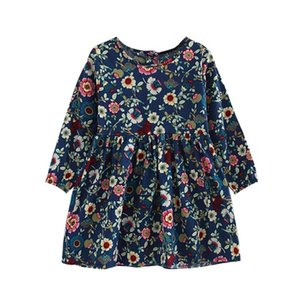 Children Girls Cute Flowers Print Long Sleeve Pleated Dress Sweet O-Neck Cotton Princess Clothes For Spring Autumn Winter