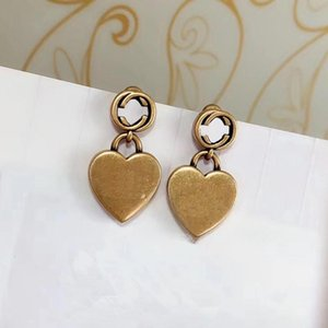 C2124 European and American style pendant earrings made of brass old heart-shaped punk earrings women simple fashion accessories