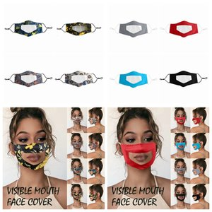 Deaf-mute Transparent Face Mask Washable Reusable Printing Masks Anti Dust Antifog Earloop Clear Designer Mask 8styles RRA3299