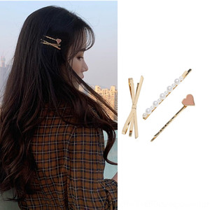 kRuJF Japanese and Korean metal bow pearl drop oil heart-shaped women all-match children's hairpin side Butterfly Pearl headdress clip hair