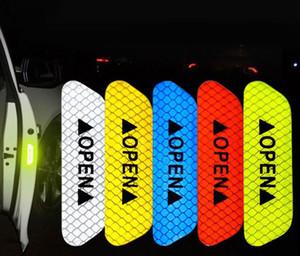 Araba Kamyon Trailer için 4pcs / Lot Araba Kapı Açık İstemi Karşıtı Çarpışma Yansıtıcı Çıkartma Bant barizlik Emniyet Dikkat Uyarısı Sticker