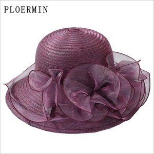 PLOERMIN 오간자 일 모자 여성 꽃 여름 결혼식은 여성의 우아한 꽃 UV 교회 모자 2019 새로운 패션 Y200619 캡