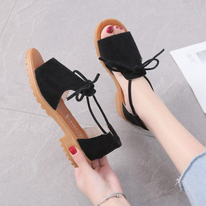 Sandals Elastic Band Black Shoes For Women 2020 Women's Open Toe Summer Heels All-Match Cross-shoes Slip-on Beige Sale Ladies