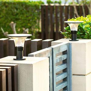 태양 광 발전 게시물 방수 라운드 야외 정원 빌라 갑판 yark에 대한 램프 풍경 주도 기둥 조명기구 조명