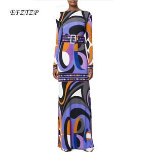 Longo de Nova Fahion Designer 2020 Luxo Maxi Mulheres vestido de manga roxo Geometria Imprimir XXL estiramento Jersey Silk Spandex vestido longo