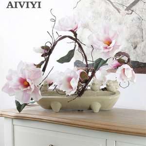 185cm Artificial Magnolia Silk Fake Flower Branch Fleur Artificielle Flores Arrange Table Wedding Home Decor Party accessory T200624