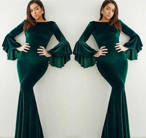 Velvet Dark Green Evening Dress Arabic Dubai Flare Long Sleeves Women Wear Formal Party Prom Gown vestidos de festa