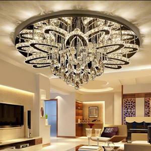 Modern Simple Stainless Steel Lustre K9 Crystal Round Chandeliers Lighting Personality Luxury LED Bedroom Living Room Ceiling Lamp Lights