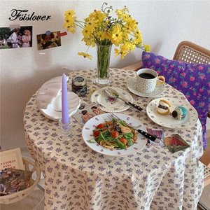 FSISLOVER Korea ins Floral Table Cloth Cotton Tablecloth Photography Backdrops Dining Table Cover Korea Chic Picnic Tablecloth T200707
