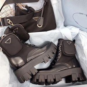 Las mujeres Rois botas de cuero de moda Martin botas de cuero real de nylon con extraíble bolsa niñas al aire libre de los botines zapatos botas de nieve con la caja