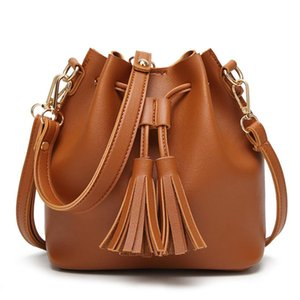Free shipping High Quality women PU Leather tassels Bucket Bag Cross body single shoulder Bag Ladies Handbags