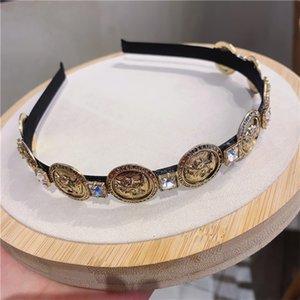 Retro Baroque Palace Hairband Coins Diamonds Headbands Simple Non-Slip Hairpin Wash Face Hairband Women Hair Accessories