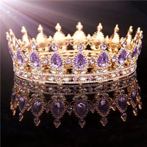 Altın Mor Kraliçe Kral Gelin Taç Kadınlar için Headdress Balo Pageant Düğün Tiaras Ve Taçlar Saç Takı Aksesuarları Y200727