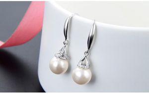 Mixed oder top quality women's S925 sterling silver pearl drop earrings silver hook earring silver ear bobs pearl CZ earrings DDS2781