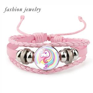 New Unicorn trançado crianças Pulseira para Meninas presentes ajustável pulseiras Jóias Multi-camada Charm Bracelet moda jóias