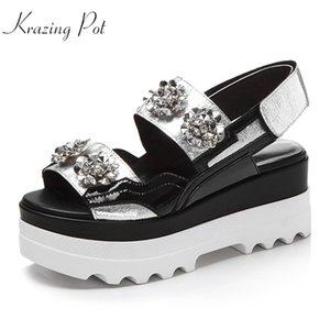 Krazing Pot 2020 new cow leather hook loop platform beauty lady rhinestone peep toe thick bottom runway silver color sandals L19