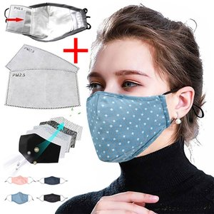 Face Mask Washable Proof Protective Face Mouth Cover Cotton Dustproof Reusable Adjust Printing Mask + 2 Filters Adult mask washable masks