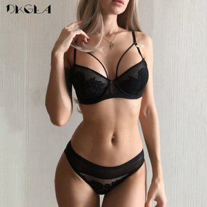2019 New Bandage Green Lace Bra Set Women Lingerie Embroidery Thick Push Up Brassiere Cotton Underwear Set Sexy Bras Gather Y200710