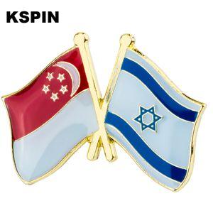 Singapore Israel Friendship Flag Badge Flag Brooch National Flag Lapel Pin International Travel Pins