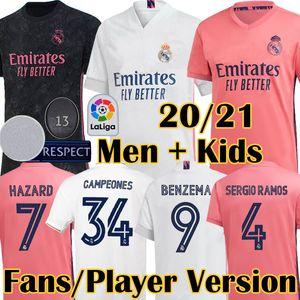 2020 عدد المعجبين 4 2021 ريال مدريد الجديد النسخة لاعب HAZARD لكرة القدم الفانيلة مودريتش SERGIO RAMOS أسنسيو MARCELO VALVERDE قميص كرة القدم للأطفال كيت
