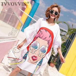 2020 Summer Girl Cartoon Sequins Print Asymmetrical Tops Tassel Irregular T Shirt Loose Plus Size Big Womans Fashion tops S030 CX200713