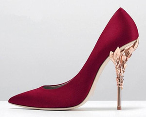 Women Solid Eden Heel Pump Super sexy women wedding shoes 2018 Ornate Filigree Leaf Pointed toe Haute Couture shoes