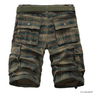 New Summer Men's Shorts Fashion Plaid Beach Shorts Men's Casual Camo Uniform Bermuda Cargo Workwear