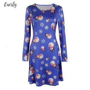 S 5Xl Plus Size Tunic Autumn Women Dresses Casual Lantern Sleeve Cartoon Print Christmas Dress Casual Loose Party Dress Vestidos
