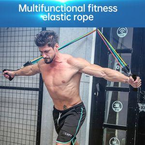11pcs / set Pull Seil Fitness-Widerstand-Bänder Set Trainings-Yoga-Band 8 Shaped elastischer Gummi Latex Expander Heimfitnessgeräte FFA4243-2