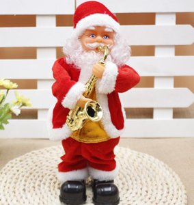Bailar eléctrica juguetes de Papá Noel Navidad eléctrica Música de Santa Claus muñeca de Navidad para los niños Parte de Navidad de dibujos animados Accesorios GGA3561-2