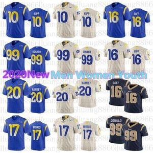 Homens mulheres LosAngelesjersey juventude 2020 Novas Rams99 jerseys Aaron Donald 16 Jared Goff 10 Cooper Kupp Robert Woods Jalen Ramsey