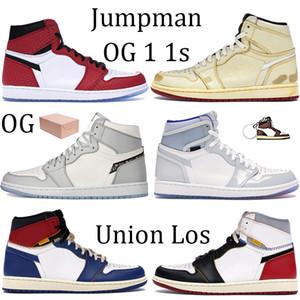Hohe vergrößern weiß Racer blau 1 1s OG Jumpman Basketball-Schuhe Chicago Angeles Blau Toe Wolf grau klassischen Lauf Turnschuhe mit Box