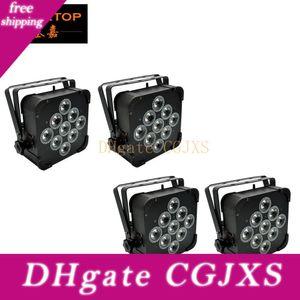 4pcs / Lot 9x18w 6en1 Rgbwap plana Soporte Par LED luces inalámbrica de batería 8 horas DMX512, 6 / 10channel Wireless LED plana PAR LED
