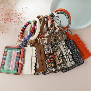 PU Leather Wristlet Keychain Leopard Snake Card Bag Wallet Tassel Key Chain Ring Holder Women Bracelet Keyring Girls Jewelry BT5690