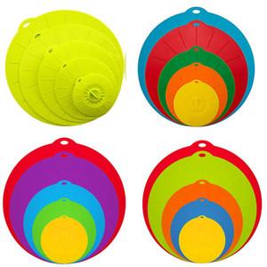 Chaud coloré 5pcs / Set Couvercles de bol en silicone Couverture Couvercles d'aspiration gratuite BPA Couvre des couvercles à micro-ondes résistant à la chaleur pour les bols DHC451