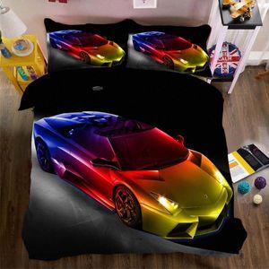 WOSTAR Home Textiles Boys Bedding Set Linens King Queen Duvet Cover Set And Pillowcases Kids Bedding Cartoon Sports Car 100 Cotton Com ADPU#
