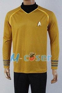 Wholesale Star Trek Into Darkness Captain Kirk Shirt Uniform Cosplay Costume Yellow Version Size XS XXXXL GiTv#