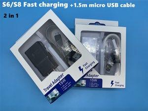 DHL Alta Qualidade 15W Adaptive 100% carregamento rápido EUA / UE viagem carregador de parede + 1.5M Micro cabo USB para Samsung S6 S7 Borda Nota 4 5 Com Box